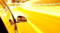 car running in high speed in modern city street,timelapse video