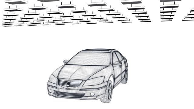 Car sketch rotating against white, loop video