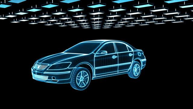 Car sketch rotating, seamless loop video