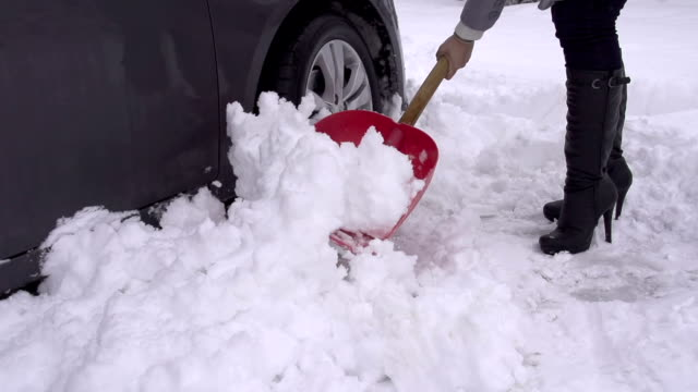 SLOW MOTION: Car stuck in the snow video