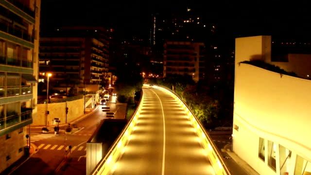 Car traffic at night, time lapse video