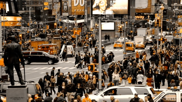 Car Traffic in New York City and Crowds of People. Only Yellow Color video
