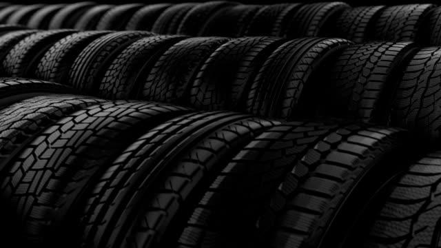 Car tyre wheels storage night black light video