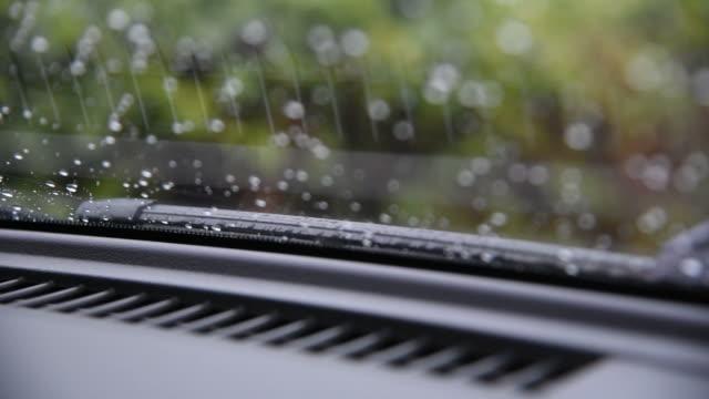 Car wiper working clean water drop on windshield video