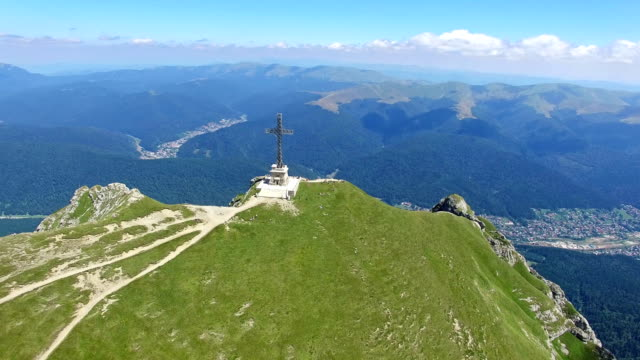 Caraiman Peak, Heroes Cross, Romania, aerial view video