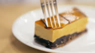 Caramel cake cutting the best time for relaxing at coffee cafe and cake video