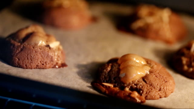 Caramel Cookies Baking, Time lapse. video