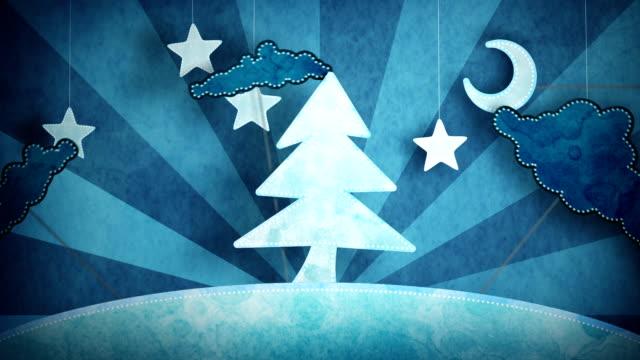 cardboard blue christmas tree loop 5.01 - 15.00 video