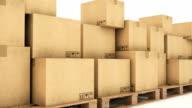 cardboard boxes. 3D rendering video