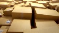 Cardboard boxes background. HD loop video