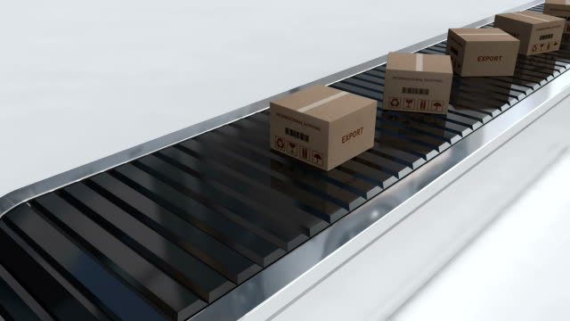 Cardboard boxes on conveyor belt | Export video