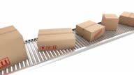 Cardboard boxes on conveyor belt video