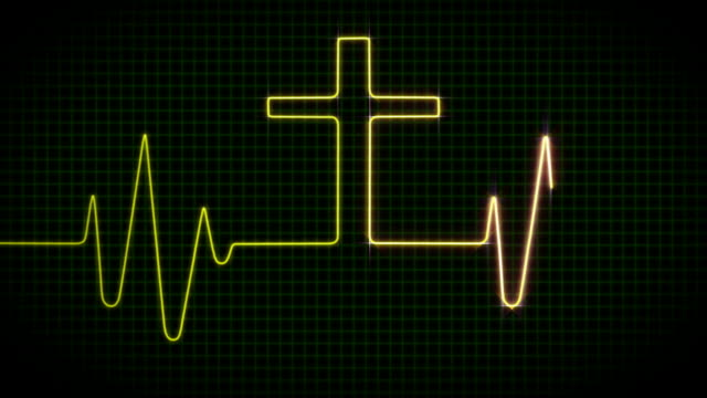 Cardiogram with Cross - Green video