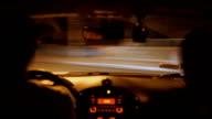Careless driving at night, driver speeding, making crazy turns, street racing video
