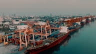 Cargo Container in Bangkok Harbor video