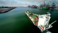 Cargo Container Ship - Aerial video