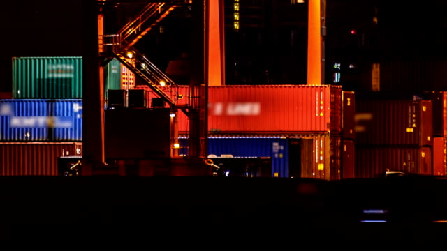 Cargo Container Warehouse Working At Night TIMELAPSE video
