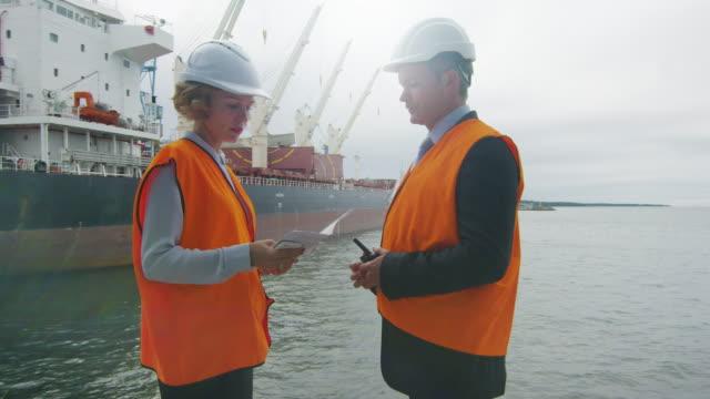 Cargo Harbor Workers in Hard Hats Have Conversation video
