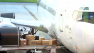 Cargo loading to plane for air freight logistic background video