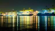 Cargo sea port.cargo cranes timelapse video
