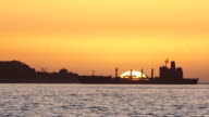 Cargo Ship at Sunset video