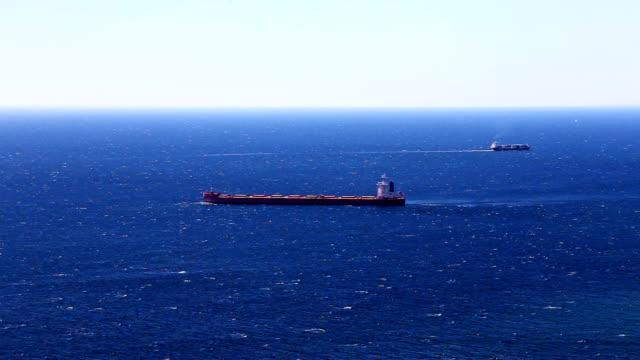 Cargo ship in the open Atlantic ocean video