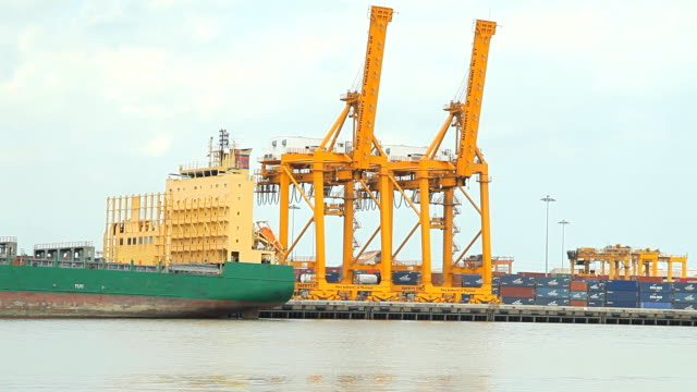 Cargo ship loading goods, time-lapse video