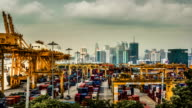Cargo ship loading port in the big city,Time Lapse video