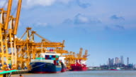 Cargo ship loading port video