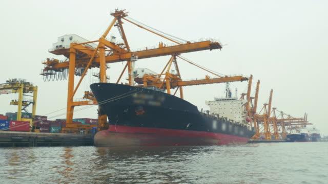 Cargo ship loading port,Hyper Time lapse video
