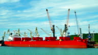 Cargo Ship Moving Load at Port. video