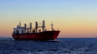 Cargo ship sailing from open sea video