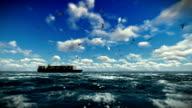 Cargo ship sailing, time lapse clouds and seagulls, with sound video