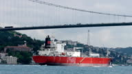 Cargo ship sails under the bridge Ataturk. video
