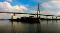 Cargo ships floating under the bridge. video