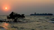 Cargo Ships under sunset video
