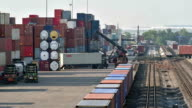 Cargo train at terminal station, Time lapse video
