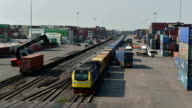 Cargo train at terminal, Time lapse video