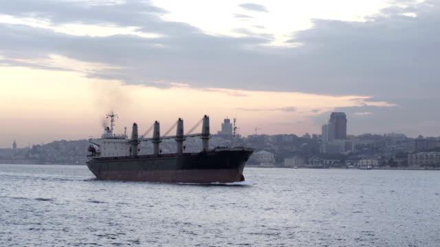Cargo Vessel passing through Bosphorus video