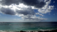 Caribbean Sea with boats and dramatic clouds video