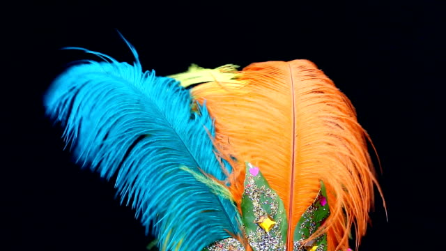 Carnival feathers isolated on black background video