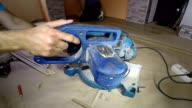 Carpenter Hands in Action With Electric Circular Saw video