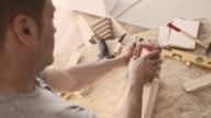 Carpenter sanding wooden box video