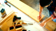 Carpentry workshop routine. video