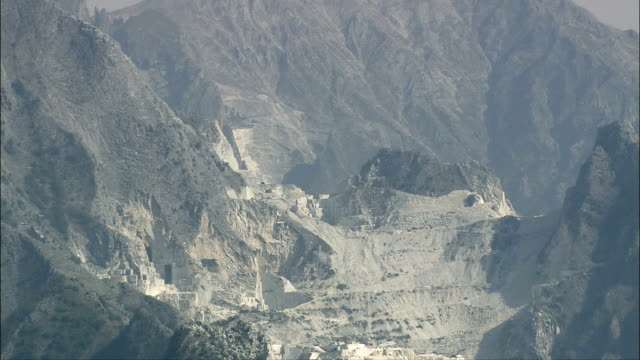 Carrara Marble Quarries  - Aerial View - Tuscany, Province of Massa-Carrara, Carrara, Italy video