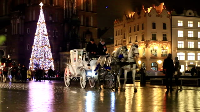 Carriage of horses in City Hall Square, Krakow video