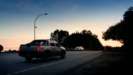 Cars And Bus On Highway At Sunrise video