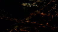 AERIAL: Cars coming from the Brooklyn Bridge interstate expressway at night video