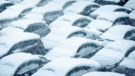 Cars Covered In Snow In Blizzard video
