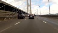 Cars drive on the bridge. video